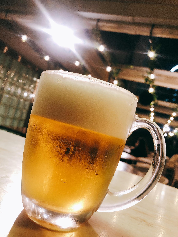涼しい夜でも外で飲む一杯は最高!