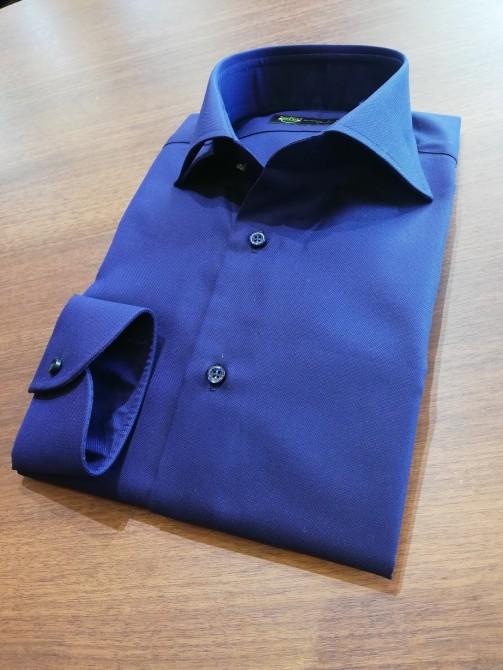 トーマスメイソンの生地を使って仕立てたホリゾンタルカラーのオーダーシャツ事例