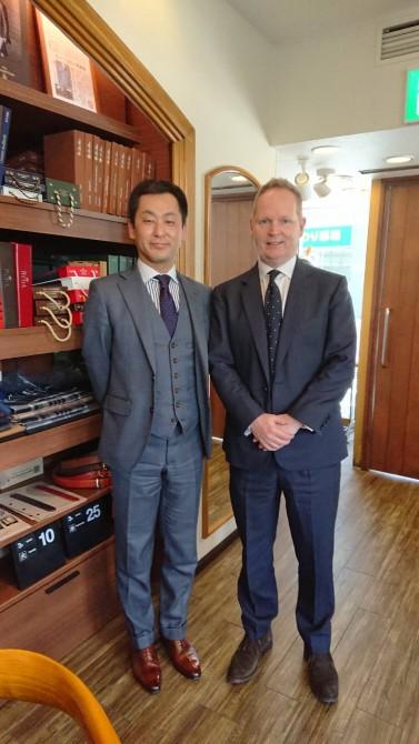イギリスの有名生地ブランド「ハリソンズ・オブ・エジンバラ」のジェームズ・ダンスフォード氏が遊びに来てくださいました!